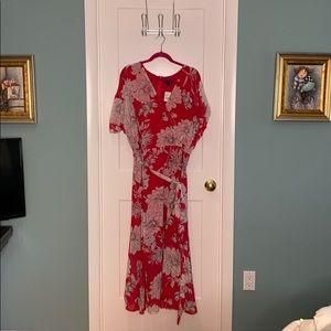 Lane Bryant red floral dress.  Size 22
